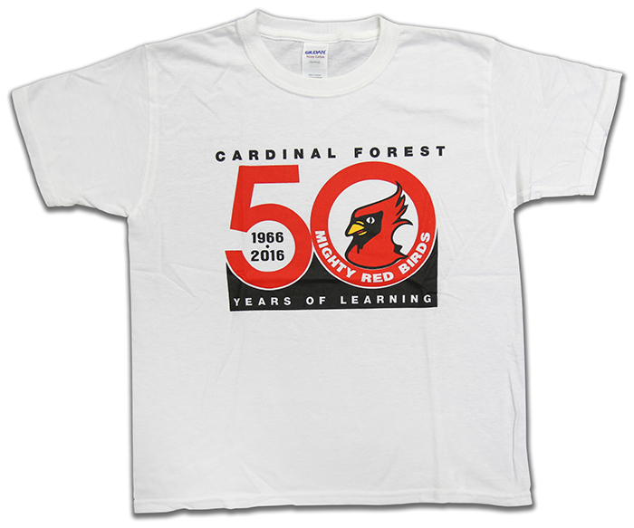 Photograph of a commemorate t-shirt created for Cardinal Forest's 50th anniversary.