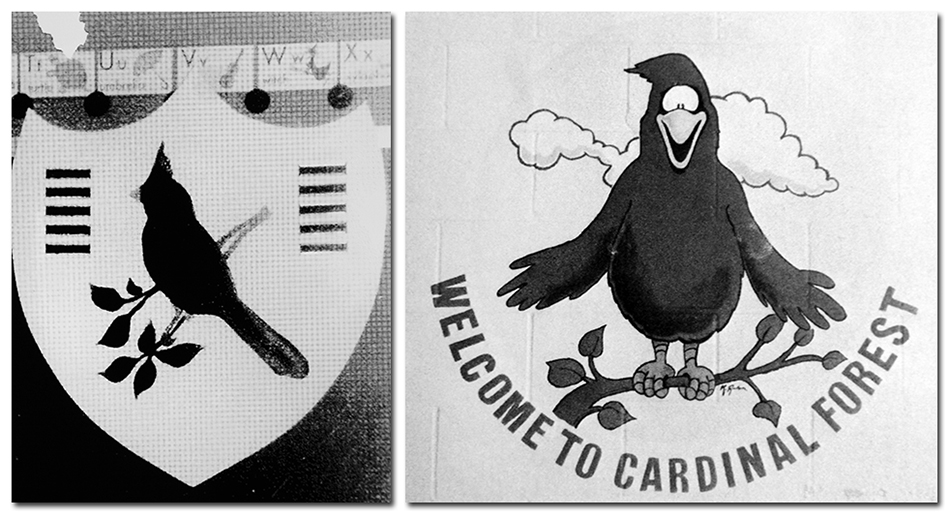 Black and white photographs of Cardinal Forest's mascot in 1967 and 1984. The red bird on the left is a silhouette of a cardinal on a shield. The mascot on the right is a cartoonish depiction of a cardinal.